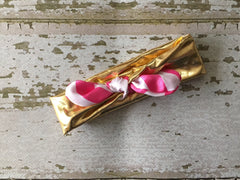 Gold with Hot Pink Striped Bow Baby Knot Headband