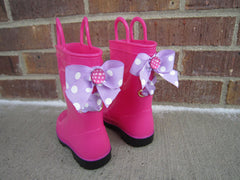 Hot Pink Rain Boots with Purple Polka Dot Bows and Rhinestones