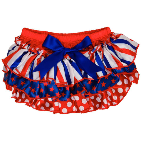 Red White and Blue Ruffled Satin Bloomers