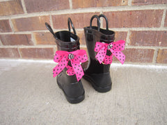 Black Rain Boot with Hot Pink and Black Polka Dot Bows and Rhinestones