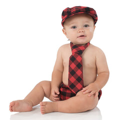 Black and Red Plaid Cabbie Hat, Diaper Cover & Tie Set