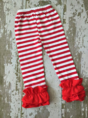 Red and White Striped Leggings with Red Ruffles