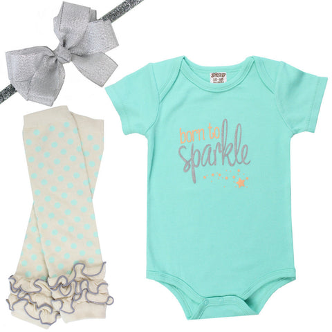 Born to Sparkle Onesie, Legwarmers and Bow Headband Set