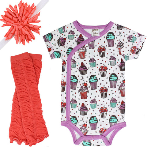 Sweet Shoppe Onesie, Legwarmers and Headband Set