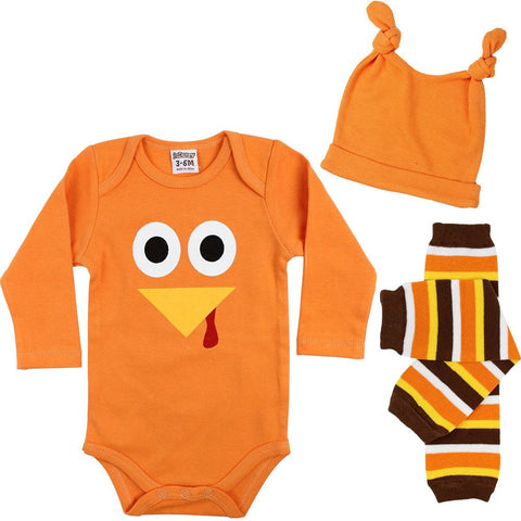 Boy Turkey Onesie, Legwarmers and Hat Set