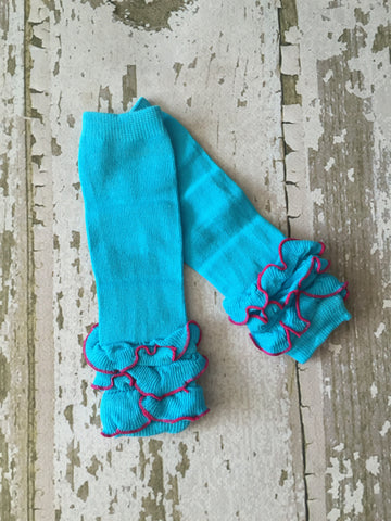 Turquoise with Hot Pink Trim Triple Ruffled Legwarmers