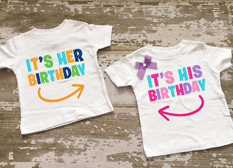 It's His Birthday....It's Her Birthday Twin Boy/Girl Shirt Set