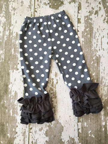 Weathered Gray with White Polka Dot Leggings with Gray Ruffles