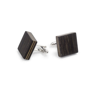 Bow Tie And Cufflink Set - Black Oak - Bug Wooden Accessories - 1