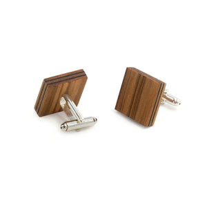 Wooden Flask And Cufflinks - Satin Walnut - Bug Wooden Accessories - 1