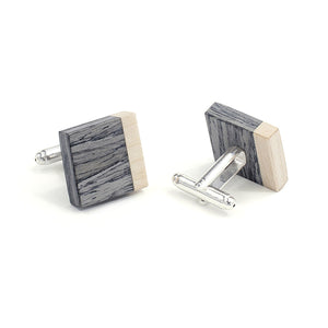 Wooden Flask And Cufflinks - Grey Oak - Bug Wooden Accessories - 1