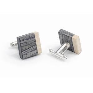 Tie Clip And Cufflink Set - Grey Oak - Bug Wooden Accessories - 1