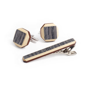 Tie Clip And Cufflink Set - Tweed - Bug Wooden Accessories - 1