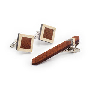 Tie Clip And Cufflink Set - Tweed 2 - Bug Wooden Accessories - 1