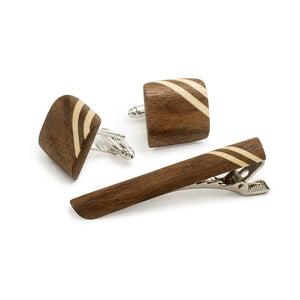 Tie Clip And Cufflink Set - Walnut - Bug Wooden Accessories - 1