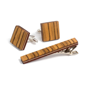 Tie Clip And Cufflink Set - Zebrawood - Bug Wooden Accessories - 1