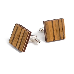 Classic Bow Tie And Cufflink Set - Zebrawood - Bug Wooden Accessories - 1