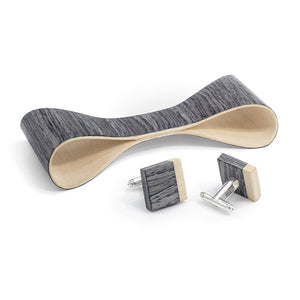 Classic Bow Tie And Cufflink Set - Grey Oak - Bug Wooden Accessories - 1