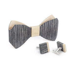 Bow Tie And Cufflink Set - Grey Oak - Bug Wooden Accessories - 1