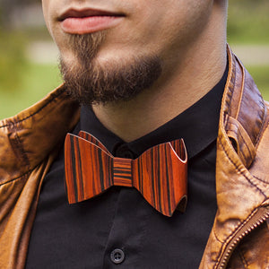 Bow Tie And Cufflink Set - Rosewood - Bug Wooden Accessories - 1