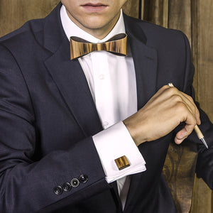 Classic Bow Tie And Cufflink Set - Satin Walnut - Bug Wooden Accessories - 1