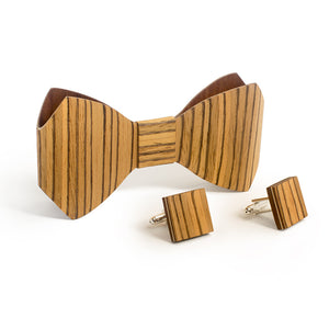 Bow Tie And Cufflink Set - Zebrawood - Bug Wooden Accessories - 1