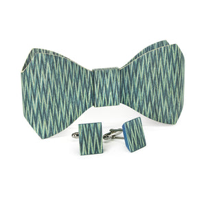 Bow Tie And Cufflink Set - Code Blue - Bug Wooden Accessories - 1