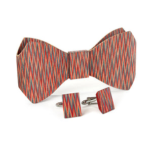 Bow Tie And Cufflink Set - Code Red - Bug Wooden Accessories - 1