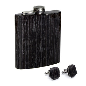 Wooden Flask And Cufflinks - Black Oak - Bug Wooden Accessories - 1