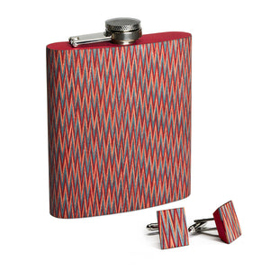 Wooden Flask And Cufflinks - Code Red - Bug Wooden Accessories - 1