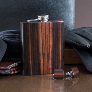 Wooden Flask And Cufflinks - Ebony - Bug Wooden Accessories - 1