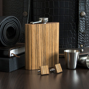 Wooden Flask And Cufflinks - Zebrawood - Bug Wooden Accessories - 1