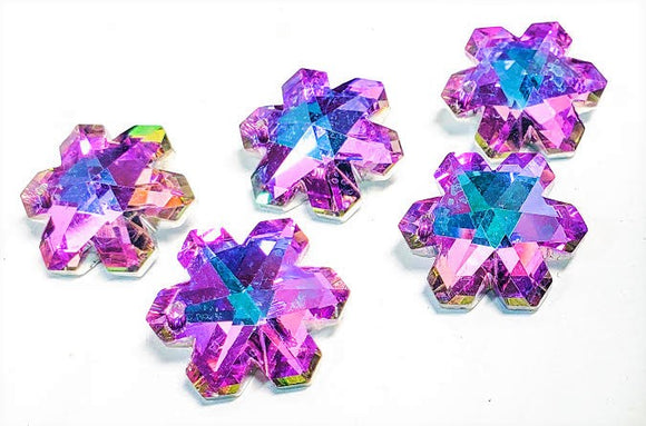 Lilac and Aqua Snowflake Chandelier Crystals Pendants, Pack of 5