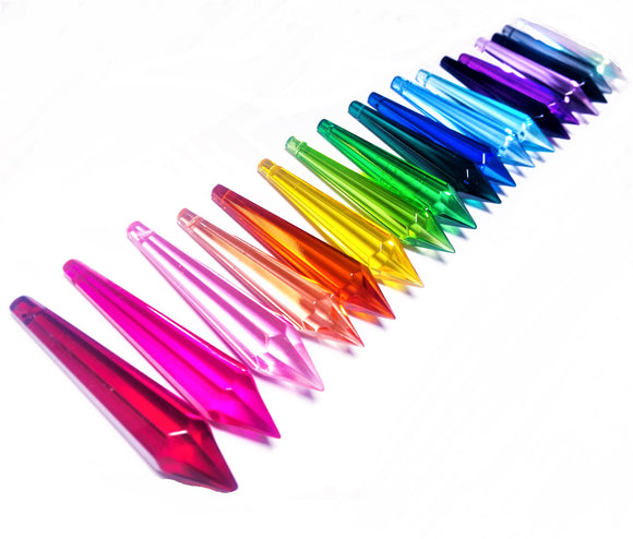 19pc Rainbow Assortment Icicle Chandelier Crystals, 80mm Glass Pendants - ChandelierDesign