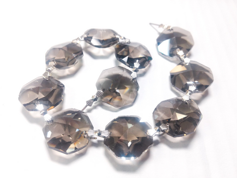 1 Foot Length Satin Grey Chandelier Crystals 24mm Octagon Prism Chain - ChandelierDesign