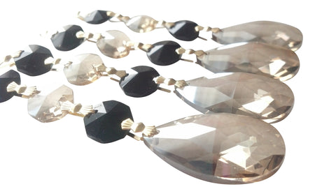 4 Champagne and Black Teardrop Chandelier Crystal Ornaments