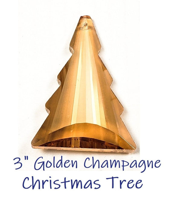 Golden Champagne Christmas Tree Chandelier Crystals, Gold Pine Tree Suncatcher