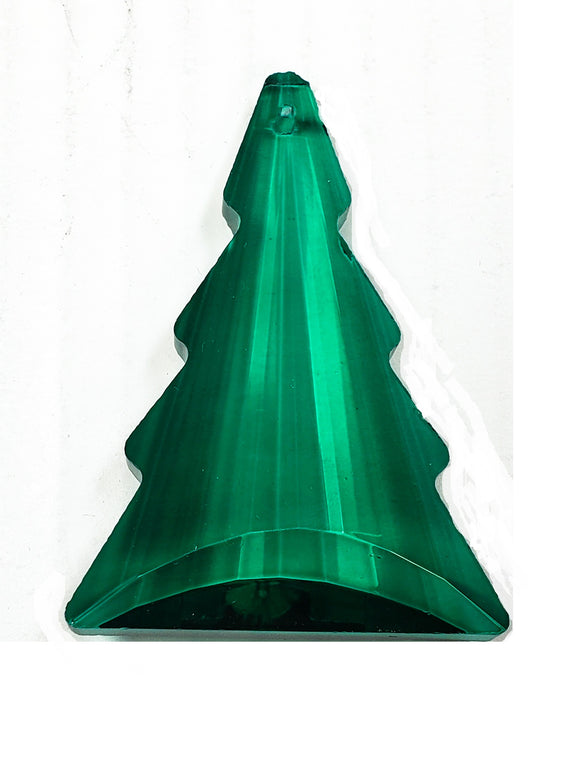 Teal Green Christmas Tree Chandelier Crystals, Caribbean Green Pine Tree Suncatcher
