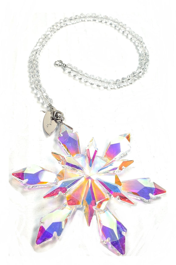 Iridescent Snowflake Suncatcher Ornament, Gift Boxed, 80mm Crystal