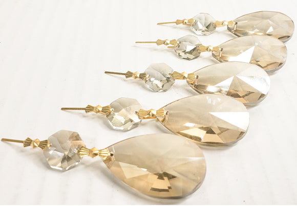 Champagne European Cut Teardrop Ornaments, Chandelier Crystals Pack of 5 - ChandelierDesign