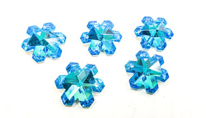 Metallic Aqua Snowflake Chandelier Crystals, 20mm Pendants Pack of 5