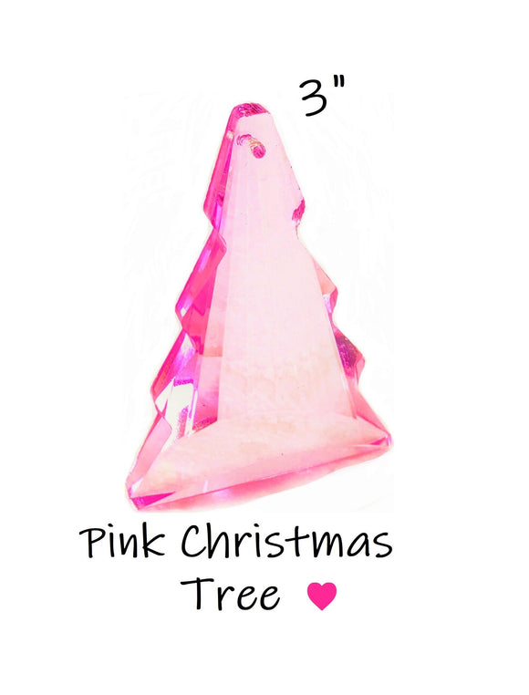 Pink Christmas Tree Chandelier Crystals, Pine Tree Suncatcher