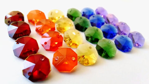 24 Assorted Rainbow Colors Chandelier Crystal Octagon Prisms 14mm Beads