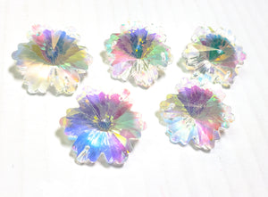 Iridescent AB Snowflake Chandelier Crystals, 30mm Beads Pack of 5 - ChandelierDesign