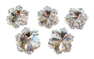 Silver Snowflake Chandelier Crystals, 30mm Beads Pack of 5 - ChandelierDesign