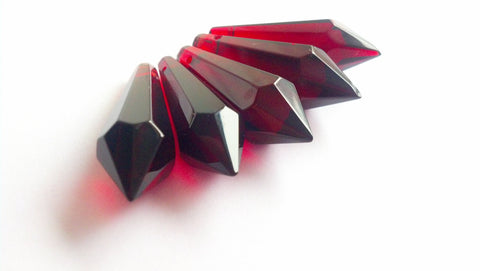 5 Dark Red Icicle Chandelier Crystal Prism Pendants 38mm - ChandelierDesign