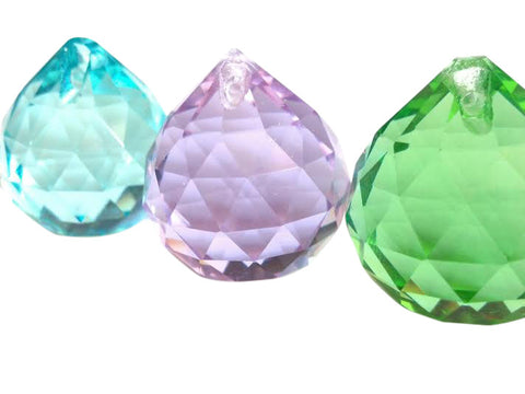 faceted light aqua, spring green, lilac chandelier crystal ball for suncatchers weddings