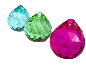Aquamarine, Spring Green and Fuchsia Chandelier Crystals Faceted Ball Pack of 3 - ChandelierDesign
