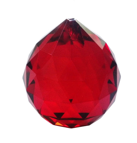 30mm Red Chandelier Crystal Faceted Ball Prism - ChandelierDesign