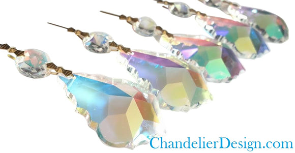 Iridescent AB French Chandelier Crystals Ornaments, Asfour Lead Crystal, Pack of 5 - ChandelierDesign